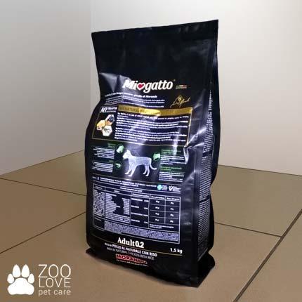 Фото обратной стороны упаковки сухого корма Морандо Миогатто для взрослых кошек, 1.5 кг
