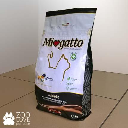 Фото упаковки сухого корма Морандо Миогатто для взрослых кошек с курицей и рисом, 1.5 кг