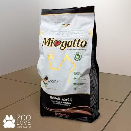 Изображение упаковки сухого корма Miogatto Hairball 0.5, 1,5 кг