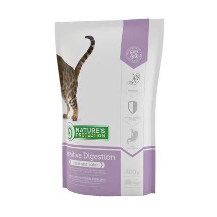 Упаковка сухого корма для кошек Nature's Protection Sensitive Digestion, 400 гр. (старый дизайн)