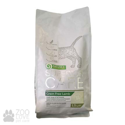 Фото упаковки сухого корма для собак Nature's Protection Superior Care Grain Free Lamb 1.5 кг