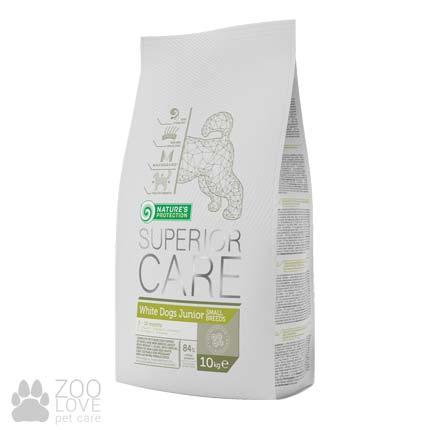 Изображение упаковки сухого корма для щенков малых пород Nature's Protection White dog Junior Small Breed 10 кг