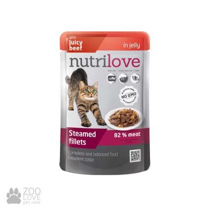 Изображение пауча с консервированным кормом Nutrilove с сочной говядиной в желе, 85 г