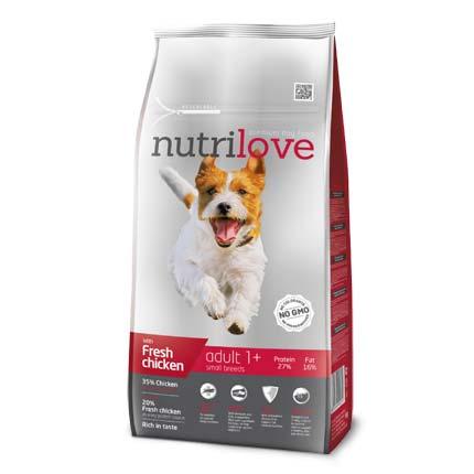 Фото упаковки корма Nutrilove Adult Small Breeds, для взрослых собак малых пород, 1,6 кг
