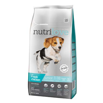Упаковка корма Nutrilove Junior, для щенков, курица с рисом