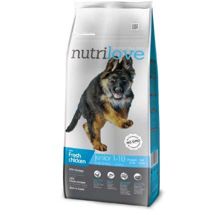 Упаковка корма Nutrilove Junior Large Breeds, для щенков, курица с рисом, 12 кг