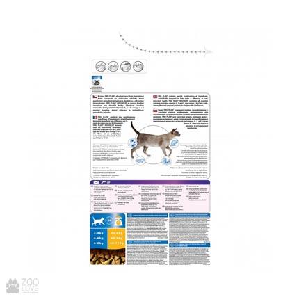 Обратная сторона упаковки корма Pro Plan Housecat для домашних котов с курицей, 1,5 кг
