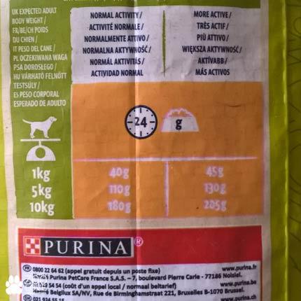 Таблица кормления кормом для щенков малых пород Purina Dog Chow Adult Small Breed