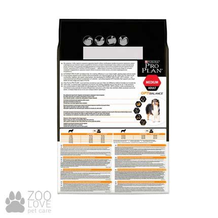 Изображение обратной стороны упаковки корм сухого для взрослых собак средних пород Purina Pro Plan Medium Adult с курицей, 3 кг (Проплан 2017)