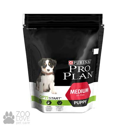 Фото упаковки сухого корма Проплан Медиум Паппи (Pro Plan Puppy Medium) для щенков средних пород с курицей, 800 грамм