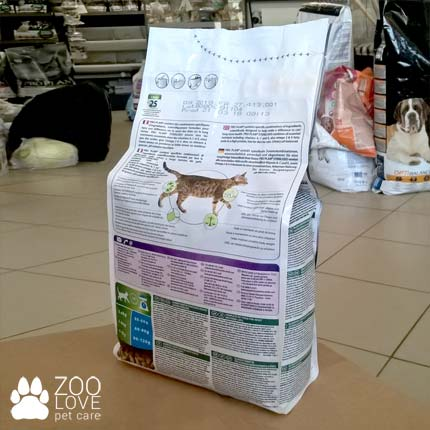 Обратная сторона упаковки корма для кастрированных котов Purina Pro Plan Sterilised Rabbit 1.5 кг (Про План)