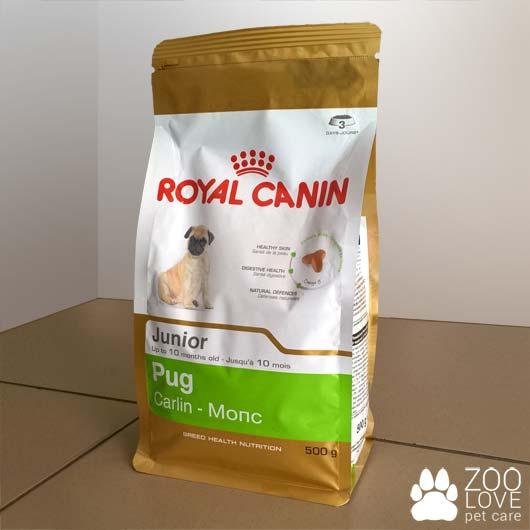 Упаковка корма Royal Canin Pug Junior для щенков мопса, 0,5 кг