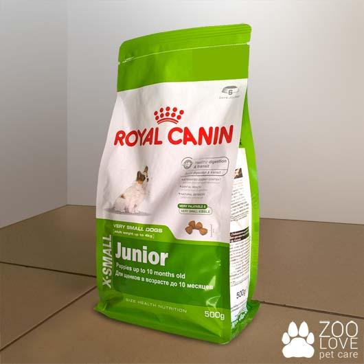 Упаковка корма для щенков Royal Canin X-SMALL JUNIOR, 0,5 кг
