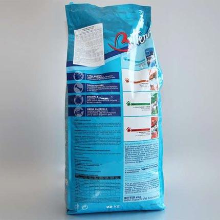 Тыльная сторона упаковки корма Better Junior 20 кг