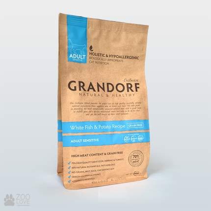 Упаковка сухого корма для кошек Grandorf White Fish & Potato Adult Sensitive 0,4 кг