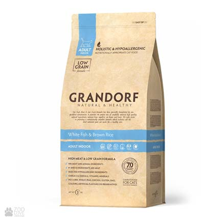 Упаковка сухого корма для кошек Grandorf White Fish & Potato Adult Sensitive 2 кг