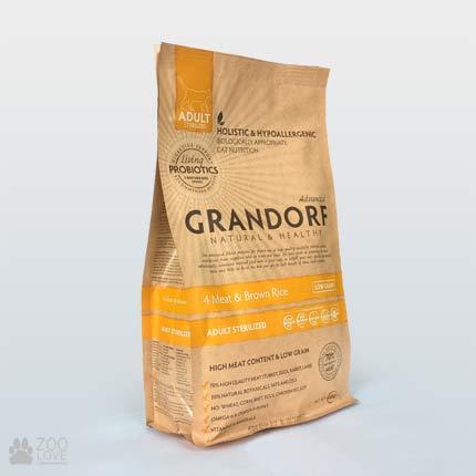 Упаковка корма для стерилизованных котов Grandorf 4 Meat & Brown Rice Adult Sterilised 0,4 кг