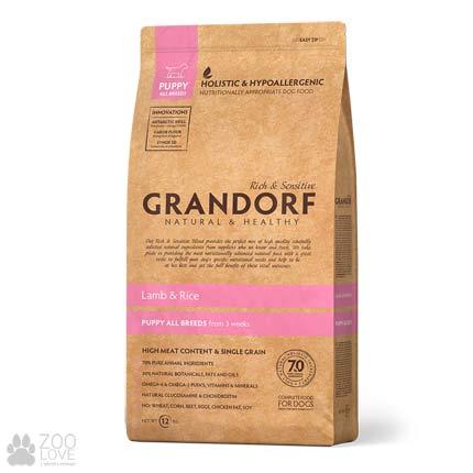 Изображение упаковки корма для щенков Grandorf Lamb & Rice Puppy All Breeds 12 кг