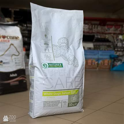 Фотография упаковки сухого корма для щенков малых пород Nature's Protection Superior Care White dog Junior Small Breed 10 кг