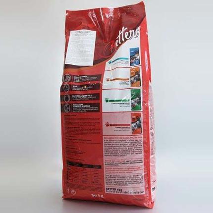 Тыльная сторона упаковки корма для взрослых собак Better Active 20 кг