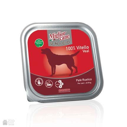 igliorcane Unico Veal, корм для собак, паштет с говядиной, 300 г