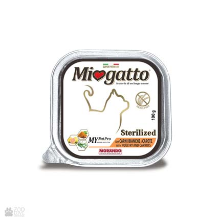 Miogatto SterilisedPoultry & Carrots, консервы для стерилизованных кошек с птицей и морковью