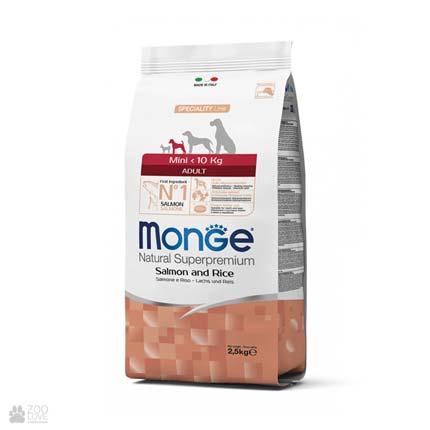 Корм для собак малых пород Монж Мини Эдалт с лососем