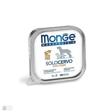 Консервы монопротеин для собак с олениной Monge Monoprotein Solo Deer