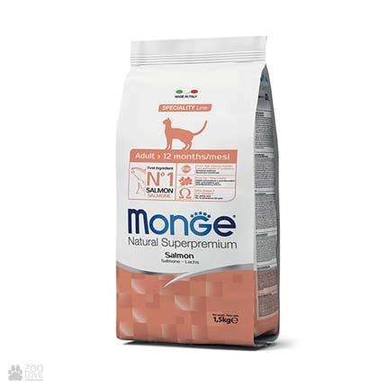 Упаковка корма Monge Adult Salmon, лосось, для кошек, 1,5 кг