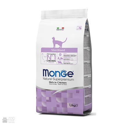 Упаковка корма Monge Sterilised для стерилизованных кошек, 1,5 кг