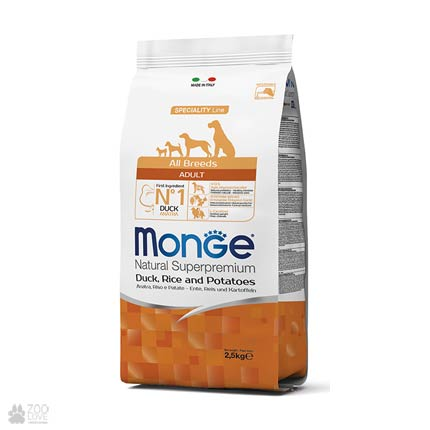 Корм для собак всех пород Монж с уткой, 2,5 кг