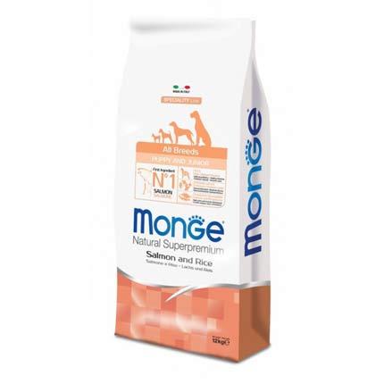 Корм для щенков всех пород Monge Puppy & Junior Salmon
