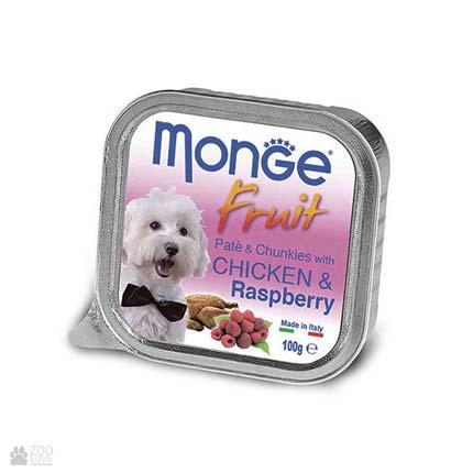 Консервы для собак  с курицей и малиной Monge Fruit Chicken & Raspberry