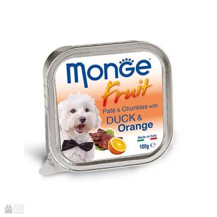 Консервы для собак с уткой и апельсином Monge Fruit Lamb & Apple