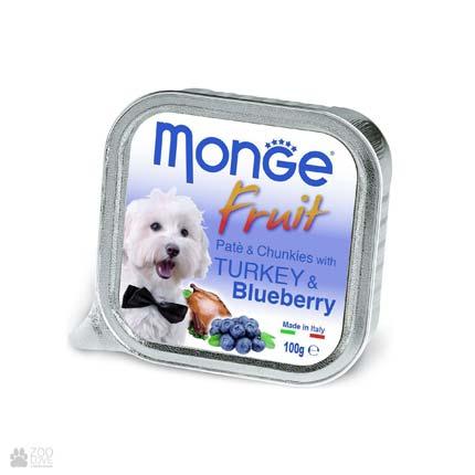 Консервы для собак с индейкой и черникой Monge Fruit Turkey & Blueberry