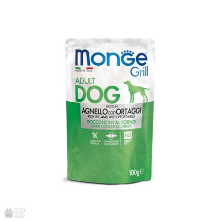 Консервы для собак с ягненком Monge Grill Lamb And Vegetables Pouch