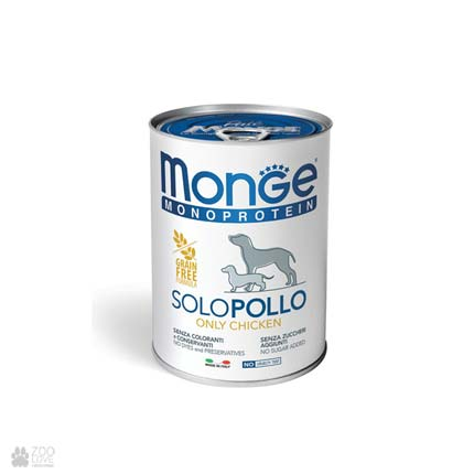 Консервы монопротеин для собак с курицей Monge Monoprotein Solo Chicken