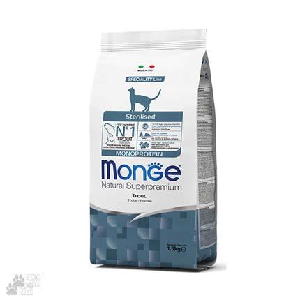 Упаковка корма Monge Sterilised Monoprotein Trout для стерилизованных кошек, с форелью, 1,5 кг