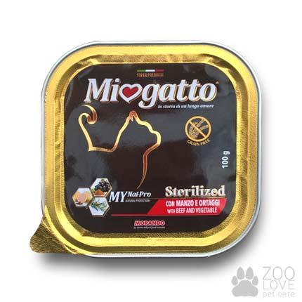 Изображение консервы Morando Miogatto для стерилизованных кошек с говядиной и овощами, 100 г