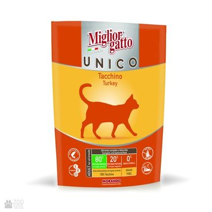 беззерновой сухой корм для кошек с индейкой Miglior Gatto Unico Turkey