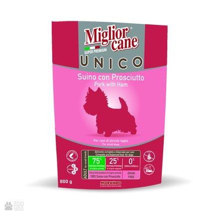 Сухой корм для собак малых пород с индейкой Miglior Cane Unico Proshutto