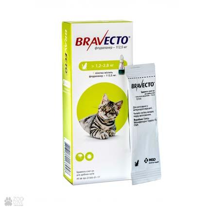 капли от блох и клещей Bravecto Spot-On для кошек весом 1,2 - 2,8 кг