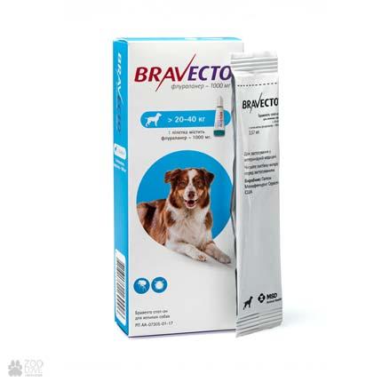 антипаразитарные капли на холку Bravecto Spot-On для собак весом 20-40 кг (средние породы)