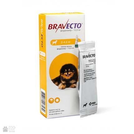 антипаразитарные капли на холку Bravecto Spot-On для собак весом 2 - 4,5 кг