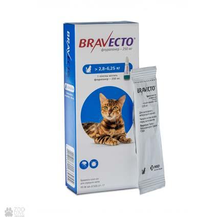 капли от блох и клещей Bravecto Spot-On для кошек весом 2,8 - 6,25 кг