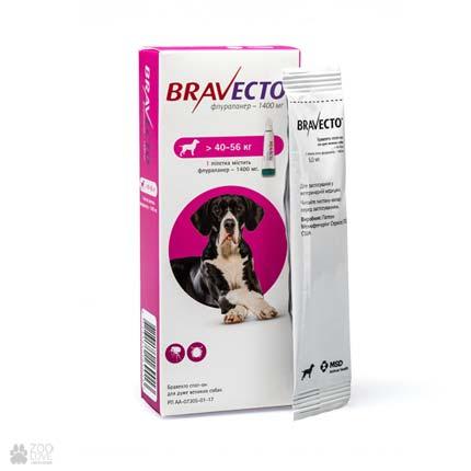 капли от блох и клещей Bravecto Spot-On для собак весом 40-56 кг (крупные породы)