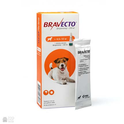 антипаразитарные капли на холку Bravecto Spot-On для собак весом 5 - 10 кг