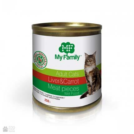 консервы для кошек, печень и морковь, мясные кусочки My Family Adult Cat Liver & Carrot Meat Pieces
