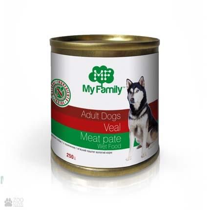 консервы для собак, паштет с говядиной My Family Adult dogs Veal Pate