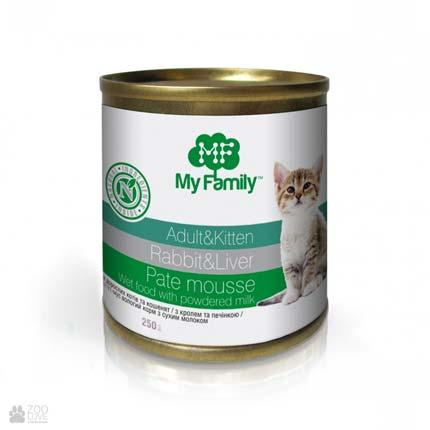 консервы для котят, паштет из кролика с печенью, My Family Kitten Rabbit & Liver Meat Pate